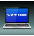 Laptop with system error message on blue screen vector image vector image