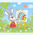 little easter bunny painter vector image vector image