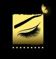 long lashes on a gold decorative background vector image vector image