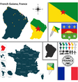 Map of French Guiana vector image vector image