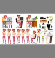 office worker woman poses set lifestyle vector image