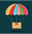 parachute with package delivery icon vector image vector image