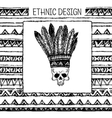 Pattern with indian headdress Black and white vector image vector image