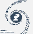 People talking icon in the center Around the many vector image vector image