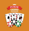 poker casino playing cards combination chips vector image