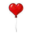 red balloon in shape heart valentines day vector image vector image