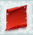 Red curved paper banner on winter background vector image vector image