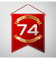 Red pennant with inscription Seventy four Years vector image vector image