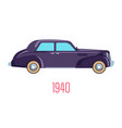 retro car 1940 vintage vehicle isolated icon vector image vector image