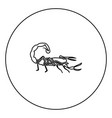 scorpion icon black color in circle vector image vector image