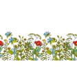 Seamless floral border with colored herbs vector image