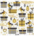 seamless pattern with gold gifts and bird vector image vector image