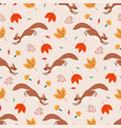 seamless pattern with squirrel leaves and twigs vector image vector image
