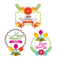 set of happy international woman day signs vector image