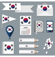 Set of icons with flag elements South Korea vector image