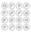 set round line icons of electric tools vector image vector image