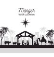 Silhouette manger merry christmas isolated design