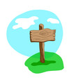 square cartoon wooden sign in grass vector image vector image