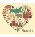 Symbols of Russia in the form of heart vector image vector image