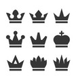 vintage antique crowns icons set on white vector image vector image