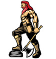 warrior standing hold an axe vector image vector image