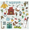 Winteer doodle iconselements setColored vector image vector image