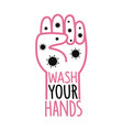 with coronavirus outline human palm and text wash vector image vector image