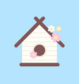 wooden birdhouse with flowers for birds vector image vector image