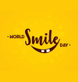 word world smile day in flat style vector image vector image