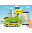 yellow taxi cab and mobile application in phone vector image vector image
