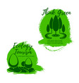 ecology and ecotourism icon set with green trees vector image