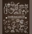 food menu elements on chalk board set vector image