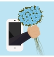 A bouquet of flowers with your hand from the phone vector image