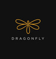 abstract line art dragonfly logo icon template vector image vector image