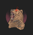 angry bear red eye with sharp claw vector image