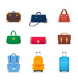 bags and suitcases flat set vector image