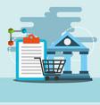 bank transfer online shopping blockchain vector image
