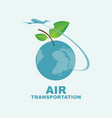 banner on air transportation with planet earth vector image vector image