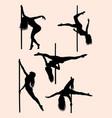 beautiful pole dancer silhouette 02 vector image