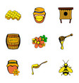 bee icons set cartoon style vector image vector image