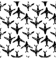 Black and white flying planes grunge print vector image