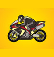 black motorcycle racing side view graphic vector image vector image