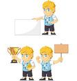 Blonde Rich Boy Customizable Mascot 4 vector image vector image
