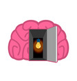 brain with light bulb open door concept of mind vector image vector image