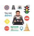 businessman drive a car set of road symbols and vector image vector image