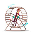 businesswoman running inside a rat wheel vector image