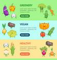 cartoon fresh healthy vegetables characters banner vector image vector image
