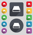 CD-ROM icon sign A set of 12 colored buttons and a vector image vector image