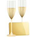 champagne flutes and gold gift tag on a white back vector image vector image