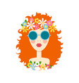 face of cute girl with smile cartoon and flat vector image vector image